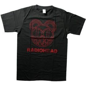 バンドTシャツ ロックTシャツ ヴィンテージ風RADIOHEAD レディオヘッド 黒 黒色 ブラック Lサイズ