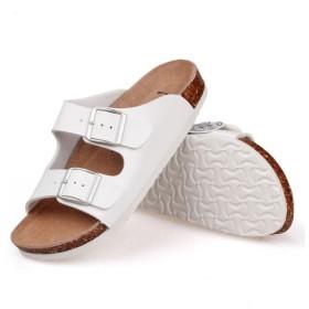 [HONEI] サンダル メンズ レディース兼用 外履き 内履き 室内サンダル 本革 インソール 天然コルク (ホワイト, 23cm)