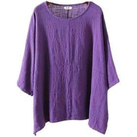 Yangelo シャツ 上質 レディース カジュアル 無地 丸首 五分袖 綿麻 夏 Tシャツ ゆったり シンプル フリーサイズ パープル