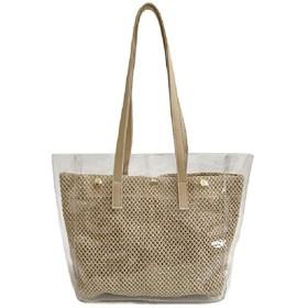 ICOUCHI クリアバッグ トートバッグ ビニールバッグ 透明バッグ 軽量 防水 レディース ハンドバッグ かごポーチ付き 取り外し可能