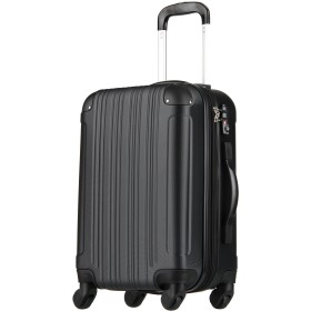 拡張ジッパースーツケース TSAロック 47リットル ブラック