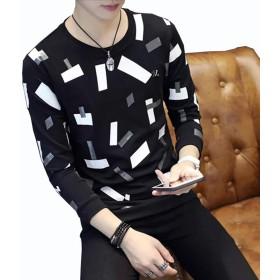 男性 ニット ファッショントップ レジャー 正方形のパターン 編み物 長袖シャツ 厚い プラスベルベット 春、秋、冬 暖かく保つ ボトムシャツ (L, 黑)
