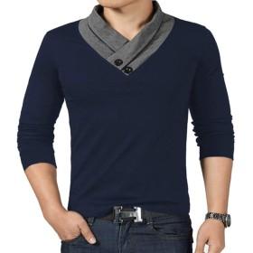 NEAODスタイリッシュ Vネック 半袖& 長袖 Tシャツ 全6色 スカーフ風 カットソー メンズ