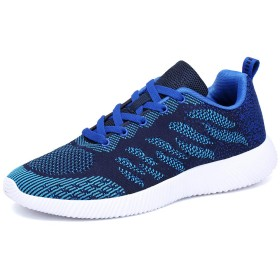 MOXOCO ジョギングシューズメンズウォーキングシューズレディース運動靴スニーカーランニングシューズ超軽量カジュアル通気アウトドアジム男女兼用ネイビーブルーは27.5cm