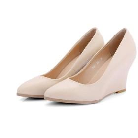 [ツネユウシューズ] レディース ウェッジソール パンプス 牛革 ブラック ウェッジパンプス ウェッジヒール ヒール8.5cm ベージュ ポインテッドトゥ 24.5cm コンフォート 女性用 婦人靴 仕事 通勤 オフィス ソフト 本革 小さいサイズ フォーマル 5cm OL
