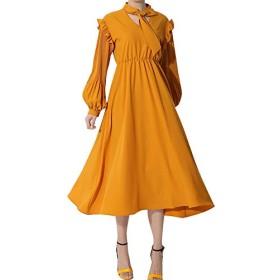 長袖ワンピース春装新規可愛レデイースリボンスタンド襟ゴムウエストカジュアルスカート名媛風黄色 (黄色, Free)