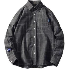 [ミートン] 裏起毛 シャツ メンズ ネルシャツ 長袖 厚手 チェック 秋冬 トップス ポロネック 大きいサイズ グレー2XL