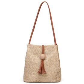 [テンカ]レディース ショルダーバッグ カゴバッグ 鞄 手編みかご 編みかご 編みバック 軽量 草編み お洒落 リゾート カジュアル 肩掛け シンプル