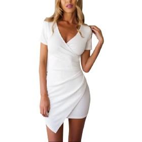 Tootess オフィスvネックミニelegent独特の裾の線のための女性のドレスを着る White S