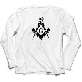 lepni.me 男性用長袖Tシャツ 兄とフリーメーソンのロゴ、フリーメーソンの広場とコンパス (XL ホワイト 黒)
