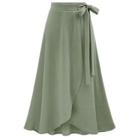 VITryst 女性の不規則なハイウエストミッドロングマキシカジュアルスカートスプリット Army Green XL