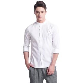 オックスフォード スタンドカラーシャツ メンズ 七分袖 カジュアル ワイシャツ ボタンダウン 無地 ビジネス 夏服 P-06(L White)