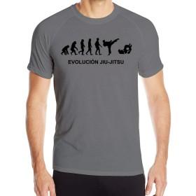男性用TシャツEVOLUTION JIU-JITSU半袖シャツクイックドライフィットネストレーニングトップス、ブラック、サイズXL