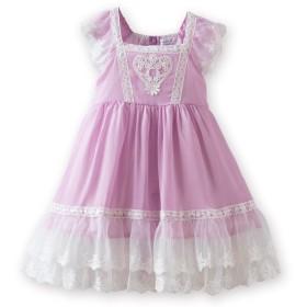 (キャサリンコテージ) Catherine Cottage 子供ドレス パステルカラー ハート&フラワーレースシフォンワンピース 100cm ライラック