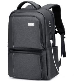 [アリアルク] リュックサック リュック バックパック ビジネスリュック メンズ PCバッグ ラップトップ 通勤 通学 15.6インチ USB充電ポート 盗難防止 防水レインカバー付き (ブラック 2019年最新
