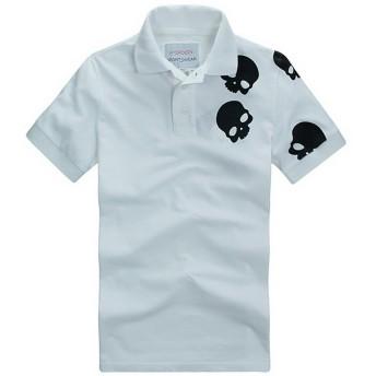 [HYDROGEN] メンズ ポロ・シャツ Tシャツ カジュアル スカル 刺繍 半袖 デザインシャツ シャツ カジュアルシャツ【18696012】 (White, L) [並行輸入品]