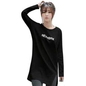 PIITE カットソー レディース コットン カットソー 無地 シンプル tシャツ カジュアル 英字プリント トップス ロングTシャツ ゆったり ラウンドネック シンプル 韓国ファッションブラック5