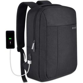 リュックサック 15.6インチノートパソコン対応する大容量PCバッグ 盗難防止&衝撃吸収 男女兼用多機能バックパック 通勤・通学・出張・旅行などに最適 洗濯可能 (ブラック(USBポートなし))