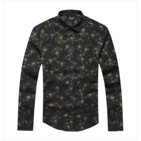 [ミックスリミテッド] シャツ メンズ 長袖 花柄 花柄シャツ アロハシャツ タイト 細身 起毛 mixflws01x-A-BLK