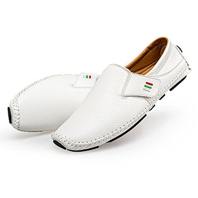 [天豊] メンズ サマー通気性本革 ビジネス靴ローファーセットの足スリッポン カジュアルシューズ ドライビングシューズ ホワイト 運転靴大きいサイズ24cm-28.5cm 軽量 (27, ホワイト(2))