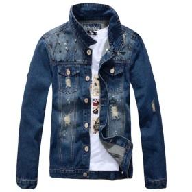 Tenflow デニムジャケット メンズ Gジャン ジャケット ジージャン デニム ジャンパー 長袖 アウター スプリング ストリート klfz-3875wt(2XL(3L) ブルー)