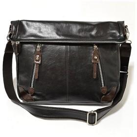 ショルダーバッグ/メッセンジャーバッグ/メンズ/2wayバッグ/3way/メンズ/男性用/鞄/フェイクレザー/A4サイズ (ブラック)