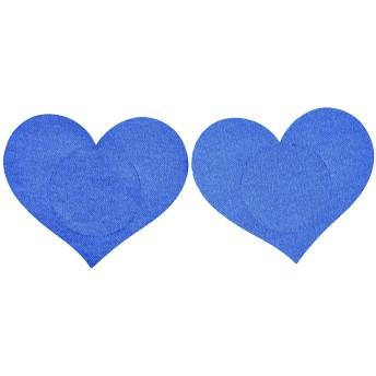 Jovivi Mak レディース ニプレス 女性用 不織布 薄型 パッド ニップル ヌーブラ ハート形 心 使い捨て 20枚セット 4カラー (ブルー)