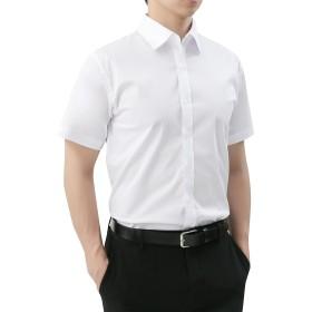 【WSTYLE】 メンズ シンプル 無地 半袖 ストレッチ シャツ_WHITE_M