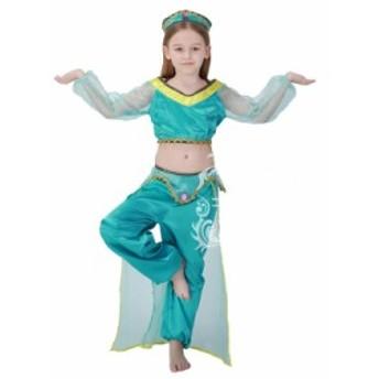 ハロウィン 子供用 女の子 コスチューム ガール アラビア コスプレ 衣装 ダンス仮装 ベリーダンス 舞台衣装 インドダンス  3点セット