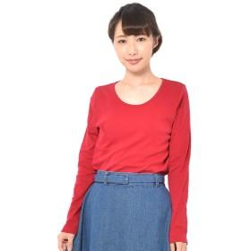 (パークガール)PARK GIRL コットン100%フライス素材無地クルーネック長袖Tシャツ レディース 大きいサイズ S/M/L/LL/3L 5628200000 (LL, ワイン)