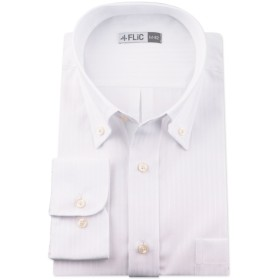 長袖ワイシャツ メンズ ボタンダウン NB109(織柄-ノーマル) L(84)サイズ/l-white-l-84-nb109