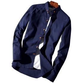 Ivy12Garcia シャツ メンズ シャツ メンズ メンズシャツ 長袖 無地 長袖 ワイシャツ トップス スリム ビジネス カジュアル シンプルメンズ カジュアルシャツ 長袖 おしゃれ 大きいサイズ 通勤 (XL【日本Lサイズ】, ネイビー)