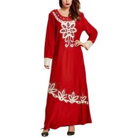 Zhhlinyuan 人気のドレス ファッション Chinese Red Ladies Kaftans Tunic Kimono Evening Party Wedding Long Maxi Dress Nightwear
