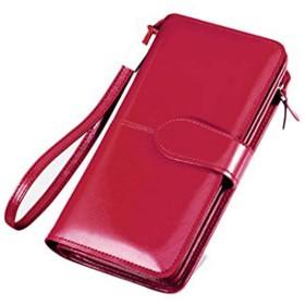 財布 レディース 長財布 二つ折り 牛革 多機能 24ヶ所カードケース 超大容量 財布 レッド