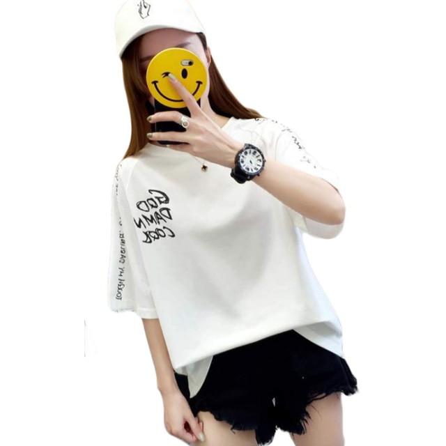 Bestmoodカットソー レディース ゆったり 半袖tシャツ ダメージ加工 ファッション Tシャツ クルーネック おしゃれ トップス 個性 カジュアル ストリート系 夏(Q白)