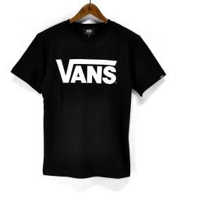 バンズ(VANS) Tシャツ VANS-MT01 Classic Logo S/ST-Shirts クラシックロゴ プリントTシャツ TEE (ブラック×ホワイト, L)