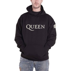 Queen パーカー Band Logo Applique Crest 新しい 公式 メンズ ブラック Pullover Size S