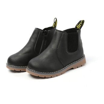 [BLEU CITRON] 男女兼用 ショートブーツ キッズブーツ 通学靴 軽量 防水 防滑 クッション性 通気性 通園 通学 (29(17.5cm), BLACK)