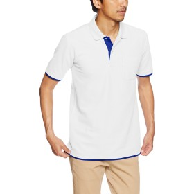 [プリントスター] 半袖 5.8オンス TC 鹿の子 ベーシック レイヤード ポロシャツ 00195-BYP メンズ ホワイト×ロイヤルブルー L (日本サイズL相当)