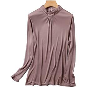 シルク ハイネック Tシャツ レディース 長袖 ギャザー入り バックシャン 6色 シルク100% silk100% シンプル 一枚着用 重ね着 シンプル オシャレ 肌に優しい 敏感肌 低刺激 快適 保湿 (XL, ブラウン)