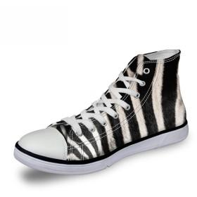 [FOR U DESIGNS]個性的なデザイン 軽量 キャンバス スニーカー レースアップ カジュアル シューズ canvas shoes ハイカット メンズ レディース ゼブラ柄