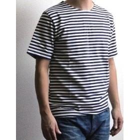 ロシア軍 ボーダー バスクシャツ 半袖 / ミリタリー デッドストック Tシャツ (54L(L~LL), ブルー)