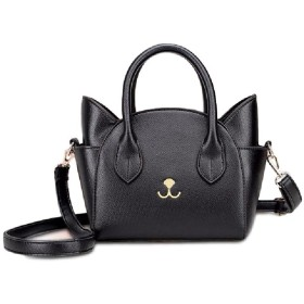 [toasoa] (トーアソーア) 猫 ショルダーバッグ バッグ バック かばん 鞄 かわいい おしゃれ 斜めがけ 小さめ 軽い ねこ 猫耳 斜め掛け 2way (01 - 黒)