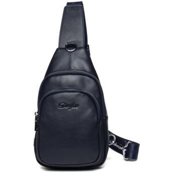 【DANJUE】天然皮革 上質 ボディバッグ ワンショルダーバッグ メンズ斜めがけバッグ レザー 軽量 カジュアル iPadなど収納 8101 (青)