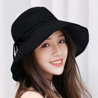 UVカット帽子 レディース つば広 折りたたみ 紫外線対策 女優帽 取り外すあご紐 サイズ調節可能 吸汗通気 可愛い ハット 夏季 カジュアル 海 旅行 自転車 小顔効果抜群