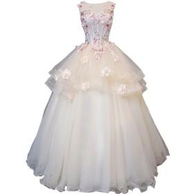 hanamaya シャンパン色 花柄 ウェディングドレス 結婚式 カラードレス 可愛い 花付き ふんわり (M)