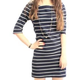 MSP レディース ワンピース ドレス 半袖 七分袖 五分袖 ストライプ ボーダー (七部袖 黒 XXL)