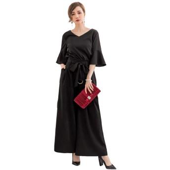 ECUSSY(エクス) 結婚式 ドレス パンツドレス セットアップ レディース フォーマル パンツスーツ お呼ばれ 二次会 披露宴 体型カバー 大きいサイズ (ブラック,XXL)