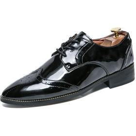 [TDHHY] 男性 ビジネスシューズ メンズ 紳士靴 外羽根 黒 レザー シューズ レースアップ 革靴 通勤 冠婚葬祭 営業マン 防滑 軽量 ファッション (Color : ブラック, サイズ : 24.5 CM)