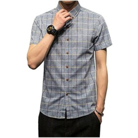 Veravant シャツ メンズ 半袖 ギンガム チェック柄 クールビジ ボタンダウン カジュアル 全5色 (グレー, XL)